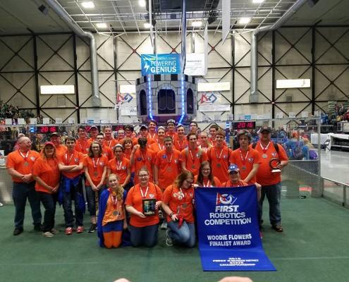 Michigan state team photo with engineering inspiration award